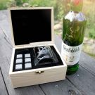 Personalised Engraved Birthday Wooden Gift Boxed Scotch Glass and Whiskey Stone Set Present