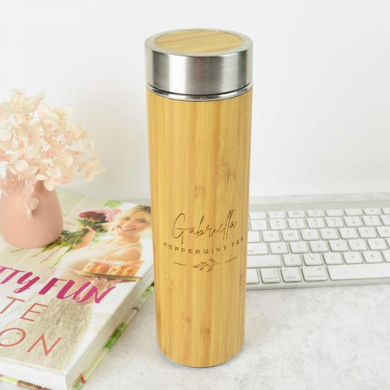 Personalised Engraved Wooden Bamboo Tea Infuser Birthday Gift
