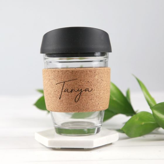Personalised Engraved Name Cork Band Reusable Glass Coffee Keep Cup Birthday Gift