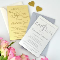 Personalised Engraved 11B Engraved Acrylic Christening/Baptism Invitations Gold & Silver