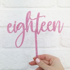 Personalised Laser Cut 18th Birthday Glitter Pink Acrylic Age Letter Cake Topper
