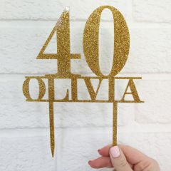 Personalised Laser Cut Glitter Gold 40th Birthday Cake Topper