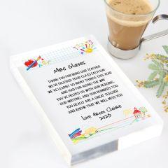 Personalised Colour Printed Teacher Appreciation Acrylic Award Christmas Present