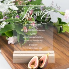 Personalised Engraved Clear Acrylic Wedding Reception Menu with Wooden Base
