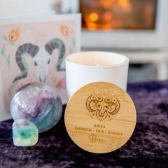 Personalised Engraved Wooden Lid Zodiac Soy Candle Aries with Wood Wick