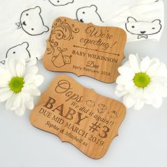 Customised Engraved Wooden Baby Announcement Cards with Magnet