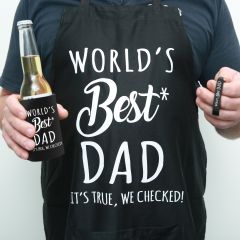 BBQ Dad Hamper – Printed Apron and black stubby cooler