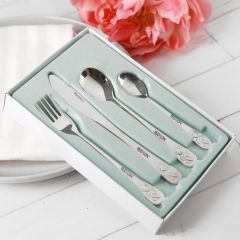 Personalised Engraved Baby First Silver Fork, Knife, Spoon Bear Set Present
