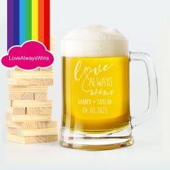 Personalised Engraved Same Sex Wedding Glass Beer Steins Mug Favour