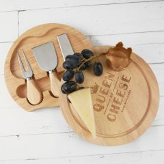 "Customised Engraved ""Queen of Cheese"" Circle Serving Board and Cheese Knife Set Birthday Gift"