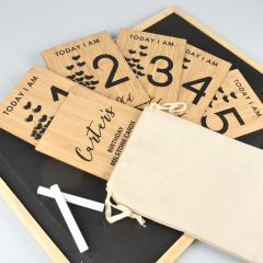 Black Printed Bamboo Birthday Milestone Cards 1-6 Set of 6