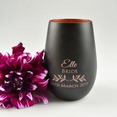 Matte Black and Copper Stemless Wine Glass
