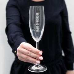 Personalised Engraved Wedding Bridesmaid Maid of Honour Bride Wedding Champagne Flutes Glasses Favours