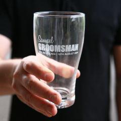 Personalised Groomsman Best Man Groom Father of the Bride Bold Series Engraved Wedding 425ml Schooner Beer Glass