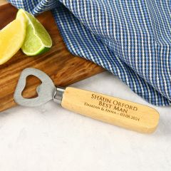 Engraved Personalised Beach Wood Handle Bottle Opener Bridal Party Gift