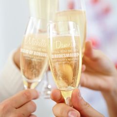 Will You be my Bridesmaid champagne glass