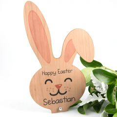 personalised Laser Cut and Printed Easter Bunny Wooden Decoration Present
