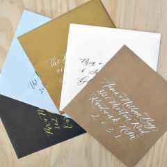 Handwritten Calligraphy Wedding 16 x 16 cm square Designer Black, White Silver Gold and Kraft Envelopes