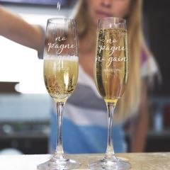 """Personalised Engraved Bar ware """"No 'pagne no gain"""" Housewarming, Birthday or farewell Champagne Glasses"""