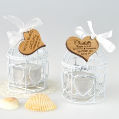 Birdcage Tealight Holder with Personalised Engraved Wooden Christening, Baptism, Naming Day Gift Tag Favour
