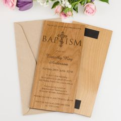 Personalised DL Engraved Wooden Baptism Invitations