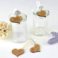 Personalised Engraved Heart shaped Gift Tags on Lolly Round Jars for Christening, Baptisms, Naming Days and Baby Showers