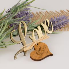 Love Bottle Opener with Personalised Engraved Wooden Heart Shaped Baptism, naming Day, Baby Shower Christening Gift Tag