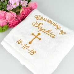 Personalised Embroidered Christening Baptism Bath Towel Present