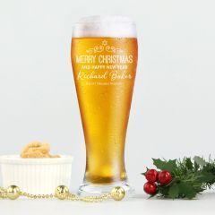 Personalised Engraved Corporate Christmas Schooner Beer Glasses Client Present