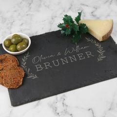 Personalised Engraved Rectangle Christmas Slate Cheese Board Christmas Gift