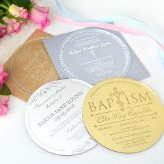 Personalised Engraved Round Clear, Frosted, Silver & Gold Acrylic Christening Invitations