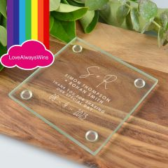 Personalised Engraved Same Sex Glass Coaster Wedding Favour