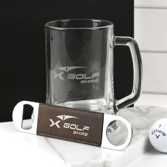 Personalised Gift Boxed Engraved Corporate 500ml Beer Mug and Leatherette Barmate