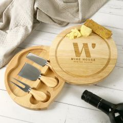 Engraved Round Wooden Cheese Knife Set Corporate Client Gift
