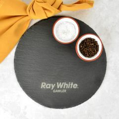 Personalised Engraved Round Slate Cheese Chopping Serving Board Corporate Gift
