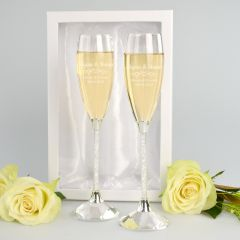 Crystal Stem Wedding Champagne Glasses with Gift Box