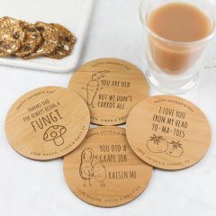 Personalised Engraved Father's Day Set of 4 Wooden Coaster With Dad Puns Present