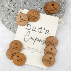 Printed Drawstring Dad's Coupon bag and 12 wooden round Coupons for Father's Day
