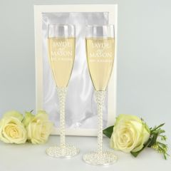 Personalised Engraved twin Diamante Stem Champagne glasses with silk lined gift box