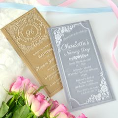Personalised Engraved DL Engraved Acrylic Christening Invitations Clear & Frosted