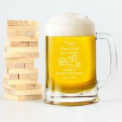 Personalised Engraved Bucks Party 500ml Beer Mug Present- i got pissed at Daniel's buck's weekend