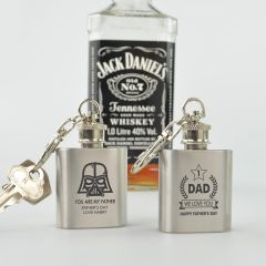 Personalised Engraved Father's Day Silver Mini Hip Flask Keyring- Star Wars