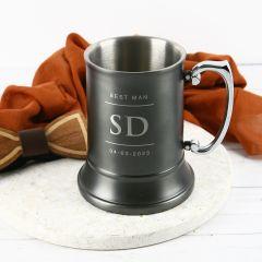 Personalised Engraved Bridal Party Gunmetal Beer Mug Present
