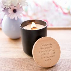Personalised Engraved Wood Wick Soy Candle with Wooden Lid Inappropriate Birthday Gift