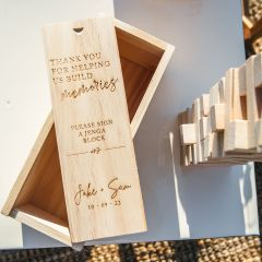 Personalised Engraved Wooden Tumbling Tower Wedding Guest Book