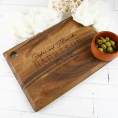 Personalised Engraved Wooden Rectangle Serving Board Bride and Groom Gift