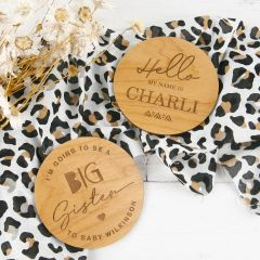 Personalised Laser Cut and Engraved Round Wooden Baby Announcements