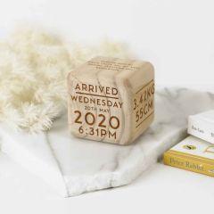 Personalised Engraved Baby Milestone Wooden Nursery Block