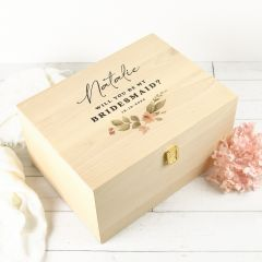 """Personalised Colour Printed """"Will you be my Bridesmaid?"""" Proposal Wooden Gift Boxes"""
