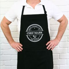 Personalised Printed Father's Day Black BBQ Apron